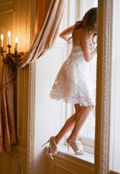 Cute white lace dress and cute heels