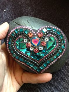 Mosaic Art Rock of Love by Moonjewelsandmosaics on Etsy, $35.00