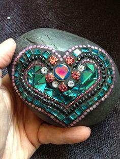 Mosaic Art Rock of Love by Moonjewelsandmosaics on Etsy, $35.00