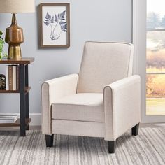 Darvis Fabric Recliner Club Chair by Christopher Knight Home - Overstock - 7818805 - Wheat Small Recliner Chairs, Small Recliners, Contemporary Recliners, Contemporary Fabric, Plaid Chair, Chair Types, Chair Backs, Club Chairs, Furniture Deals
