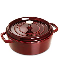 Grenadine Staub Enameled Cast Iron 4 Qt. Shallow Wide Round Cocotte - Cookware - Kitchen - Macy's