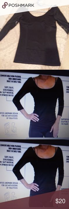 Perfect Balance Yoga / Dance Top -  Small See complete description in the listing photo.  Worn once - in perfect condition.  Spandex, 3/4 sleeve, logo at underarm area of sleeves, shelf bra.  The barefoot logo is too cute! Perfect Balance Tops Tees - Long Sleeve