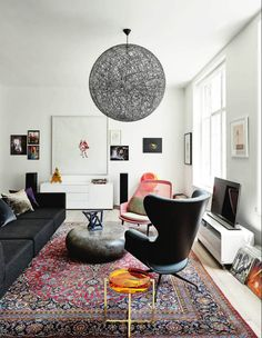 black sofa + colour - rug as colour chart
