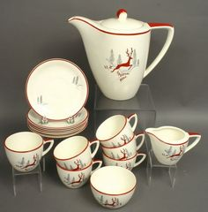 15-pc Art Deco Crown Devon Stockholm Tea Set, would be sweet for the holiday.