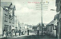 Rogaland fylke Karmøy kommune Kopervik. Fint gateparti med flere personer Utg N.K./Louise Aanensen Stpl. Chr. A Bergen C 1908 + privat gummistpl. R. Maartmann Kopervik.