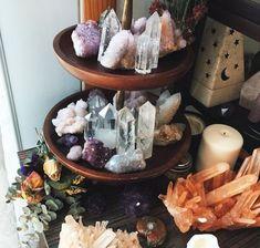 Crystal organization, can place near altar Crystal Altar, Crystal Magic, Crystal Decor, Quartz Crystal, Crystal Healing, Crystal Garden, Crystals And Gemstones, Stones And Crystals, Gem Stones