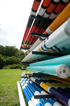 A colorful shot of showjumping rails waiting to be transformed into a beautiful course of grand prix jumps at the Brownland horse show grounds in Nashville, Tennessee.