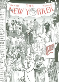 """The New Yorker - Monday, December 15, 1997 - Issue # 3779 - Vol. 73 - N° 39 - « Cartoon Issue » - Cover """"The Gang's All Here"""" by Robert Mankoff"""