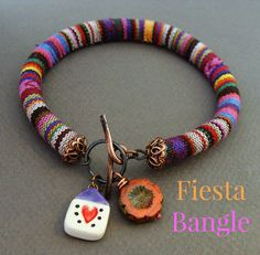 Tip: how to push wire through a textile cord (5 Free Art Bead Jewelry Projects by Heather Powers)
