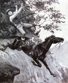 Tom Kicked Away the Stirrups and Grasped the Low Branch of a Live Oak Tree : Frederic Remington : Museum Art Images Frederic Remington, Live Oak Trees, West Art, Horse World, Western Theme, Le Far West, Indian Art, American Artists, Art Images