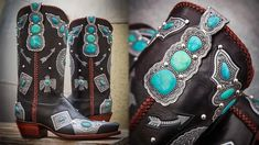 Rocketbuster Boots are back with yet another magnificent pair of wearable art! Each pair is designed, cut, carved, stitched, and assembled in El Paso, Texas, and their newest pair will blow your socks off. Nothing like combining two loves: turquoise and handcrafted footwear. Cowgirl Chic, Cowgirl Style, Cowgirl Boots, Cowgirl Fashion, Wearable Art, Footwear, Carving, Pairs, The Incredibles