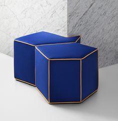 Modern klein blue stools with brass frame | www.bocadolobo.com/ #luxuryfurniture #designfurniture
