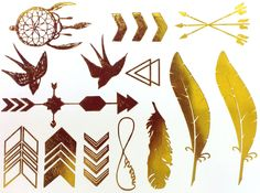 New  METALLIC TEMPORARY TATTOOS  Gold Temporary by StudioGold, $8.95