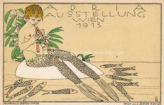 Art Nouveau, Vintage World Maps, Mermaid, Poster, Fantasy, Illustration, Vienna, Image, Memories
