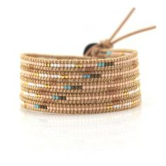 Peach Turquoise And White Seed Beads On Natural Wrap Bracelet