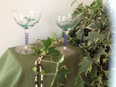 Shimmery Painted Floral Glasses by emyliastone on Etsy, $29.00