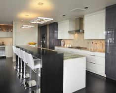 love the bar stools and two level Modern Kitchen Gray Modern Kitchem Design, Pictures, Remodel, Decor and Ideas - page 14