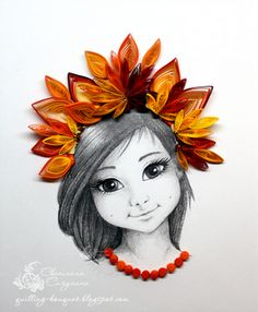 Lovely quilling embellishment on a drawing. @Etsy #craftparty #FHTCraftParty