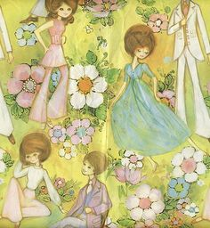 Vintage 1970's print/patter/design; wrapping paper (and sometimes wall paper) looked like this.