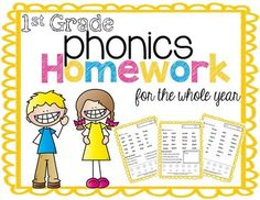 1st Grade Phonics Homework for the Whole Year.  Lots of great sight word practice here!