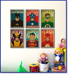 Superheroes Posters for a Little Boy Room Decorating a little boys room, what greater idea that superheroes on the wall.