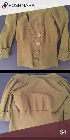 Olive Green Mini Cardigan Pre-owned condition. Adorable buttoned or unbuttoned with a tight tee or tank underneath!  Smoke- and pet- free as always! Tops