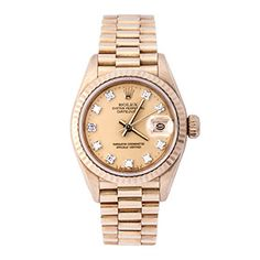 A beautiful watch featuring a gold dial with ten sparkling diamonds in place of numbers that add a hint of subtle glamour. With oyster perpetual movement, superlative chronometer and a date panel this 1984 ladies Rolex is a fabulous timepiece to add to any collection. #rolex #vintagewatch #ladieswatch #goldwatch