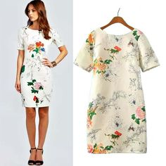 spring/autumn/winter V backless zipper quality floral printing spring white dress-in Dresses from Women's Clothing & Accessories on Aliexpress.com | Alibaba Group