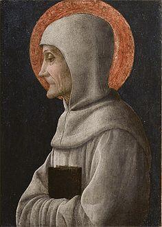 Saint Bernardino of Siena - Andrea Mangegna.  c.1450.  Tempera and gold on panel.  27.5 x 19.1 cm.  Accademia Carrara, Bergamo, Italy.