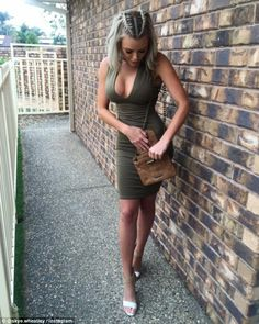Taking the plunge! Ex-Big Brother star Skye Wheatley, 23, took to Instagram on Wednesday to share a snap that saw her flaunting her ample assets in a skin-tight khaki frock with a daringly-low neckline