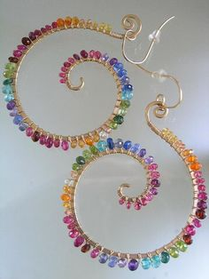 Riotous Hues...Vibrant Gemstone Bejeweled Signature Original Gold Filled Nautilus Spiral Earrings