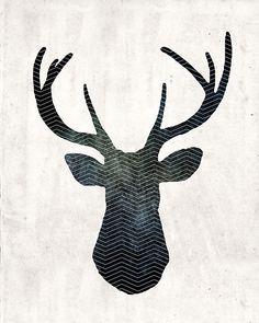 free art download stag head deer print #freeprintables #InstantArt #PosterPrints