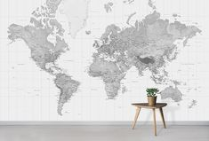 Our Black and White World Map Wallpaper mural offers a calming and neutral backdrop to your interior design. Beautifully printed to your exact wall size World Map Mural, Kids World Map, World Map Wallpaper, Kids Wallpaper, Custom Wallpaper, Wall Wallpaper, Bedroom Wallpaper, Black And White Interior, White Interior Design