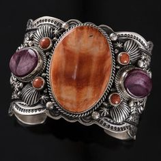 Cuff | SamsVille Gallery Designs.  Sterling silver, Orange and Purple Spiny Oyster Shell