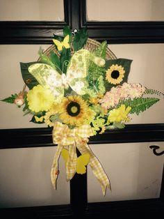 My little craft wreath.  Added greenery, flowers, butterflies, birds, bow.  More at https://www.facebook.com/Moje-vence-995508700482994/