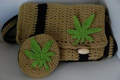 Marijuana leaf applique crochet pattern by Ahookashop on Etsy