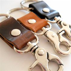 MENS GIFT Chunky Leather Keychain Lobster Clamp by YourDailyJewels