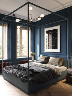 Dark & moody decor in a modern apartment for a young couple. Featuring a green living room and shower room, and an all blue bedroom scheme with a 4 poster bed. Apartment Interior, Apartment Design, Home Interior, Interior Design, Luxury Interior, Living Room Green, Living Room Windows, Single Bedroom, Blue Bedroom