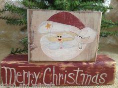 Primitive Santa Merry Christmas Xmas Conversation Shelf Sitter Wood Blocks