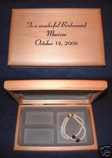 Personalized Engraved Wood Jewelry Box Bridesmaid Maid of Honor Gift Keepsake