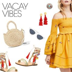Vacay Vibes by dressedbyrose on Polyvore featuring Free People, Schutz, Clare V., J.Crew, StreetStyle, ootd, polyvoreeditorial and vacayoutfit
