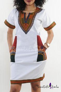 Women's Club Dresses - shekiss Women's Dashiki African Bodycon Dresses Bohemian Vintage Print Club Midi V-Neck Pockets at Women's Clothing store: Short African Dresses, Latest African Fashion Dresses, African Print Fashion, Nigerian Fashion, Ghanaian Fashion, African Prints, Latest Fashion, Dashiki Dress, Dashiki Shirt