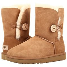 UGG Bailey Button II (Chestnut) Women's Boots ($170) ❤ liked on Polyvore featuring shoes, boots, ankle boots, faux fur shoes, low heel ankle boots, platform ankle boots and faux-fur boots