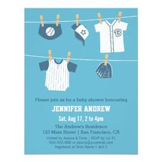 Sports Clothes Baseball Baby Shower Invitations