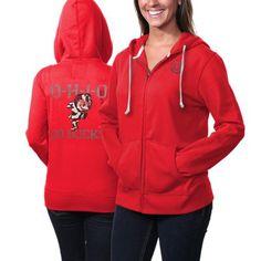 Ohio State Buckeyes Ladies Distressed Print Full Zip Hoodie - Scarlet