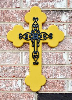 Layered Wooden Cross // Yellow and Navy Blue
