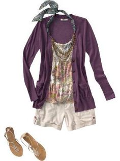 "look from old navy. tiered top in purple mania ($16), linen-blend boyfriend cardigan in warlock ($35), cuffed linen-blend shorts 5"" in palomino ($25) beaded fashion necklace in blue floral ($14).  love this look!"