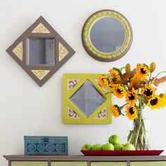 Make over mirrors by mixing small batches of chalk-finish paint in various color combinations.