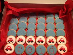 Red and blue car theme 1st birthday cookies (creative credit needs to go to someone else...I just copied it off a link from the birthday boy's mom)