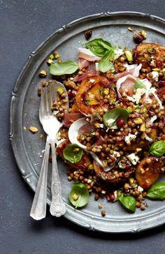 Nectarine, Lentil and Parma Ham Salad Ham Recipes, Paleo Recipes, Cooking Recipes, South African Recipes, Ethnic Recipes, Parma Ham, Ham Salad, Lentil Salad